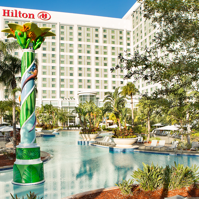 Expansive pool area and lazy river at Hilton Orlando