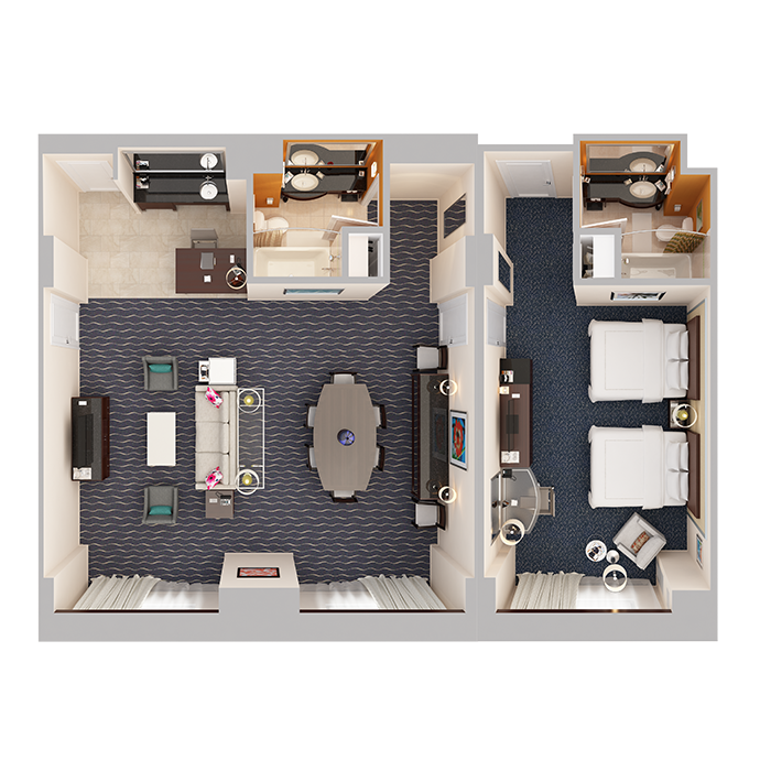 Hospitality Suite - One Bedroom (2 Queen Beds) - Top Down View