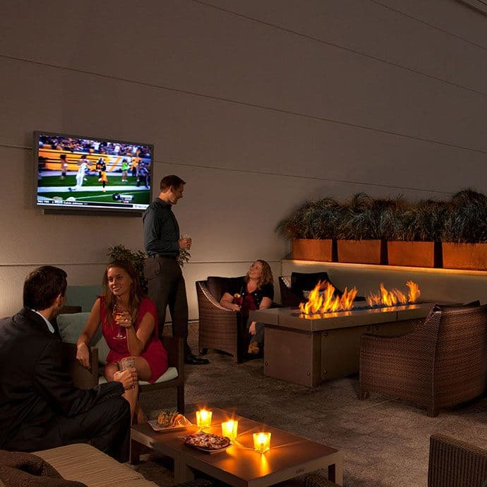 David's patio features firepits and TVs