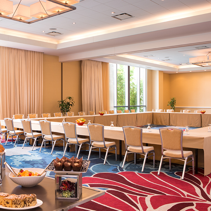 Select Meeting Rooms feature floor to ceiling windows
