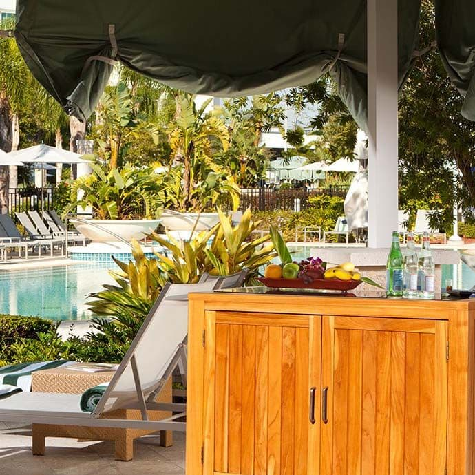 12 Private Cabanas available with TVs and Ceiling fans